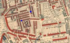 Old map showing Belham Street & Sansom